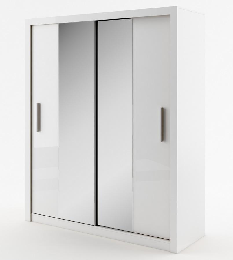 šatníková skriňa IDEA 03 biela zrkadlo 180 cm