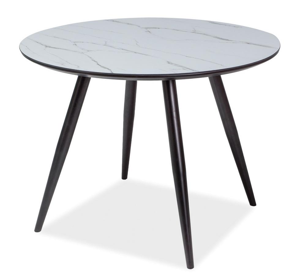 Gulatý jedálenský stôl IDEAL čierna/mramor