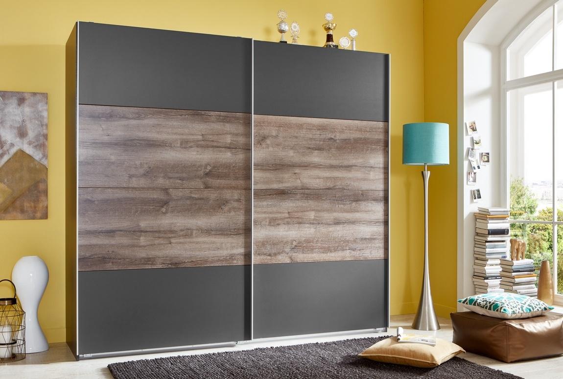 Šatní skříň s posuv. dveřmi ILONA 864 grafit/dub bahenní
