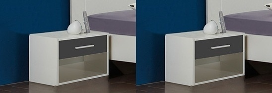 nočný stolík ( 2 ks ) ILONA 698 biela/grafit