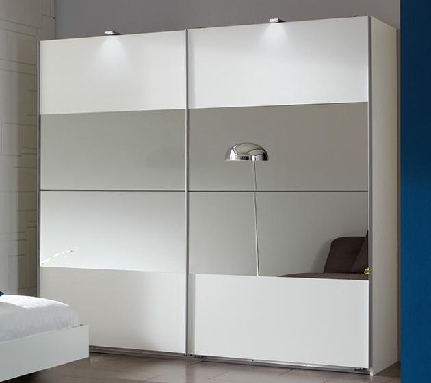šatníková skriňa s posuv. dveřmi ILONA 791 biela/zrkadlo