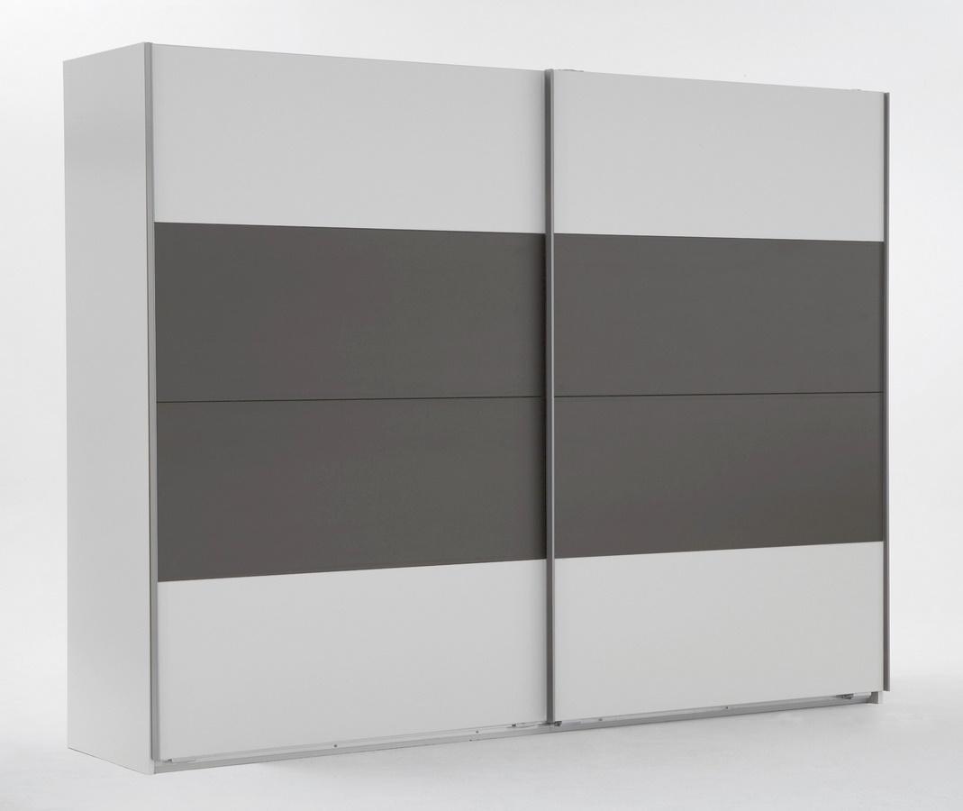 šatníková skriňa s posuv. dveřmi ILONA 864 biela/grafit