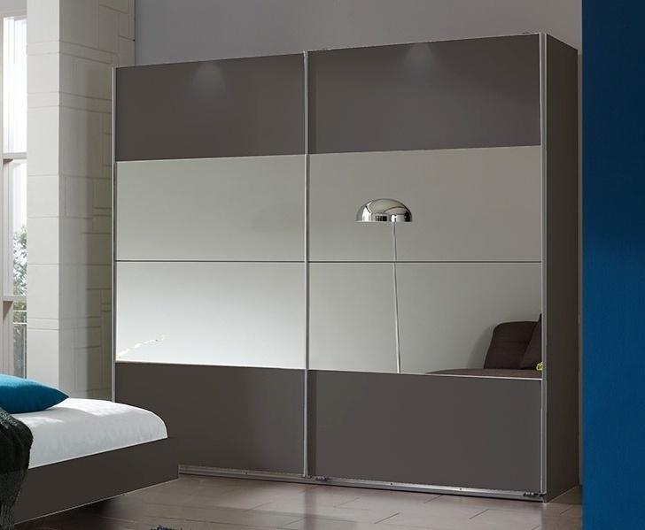 šatníková skriňa s posuv. dveřmi ILONA 791 grafit/zrkadlo