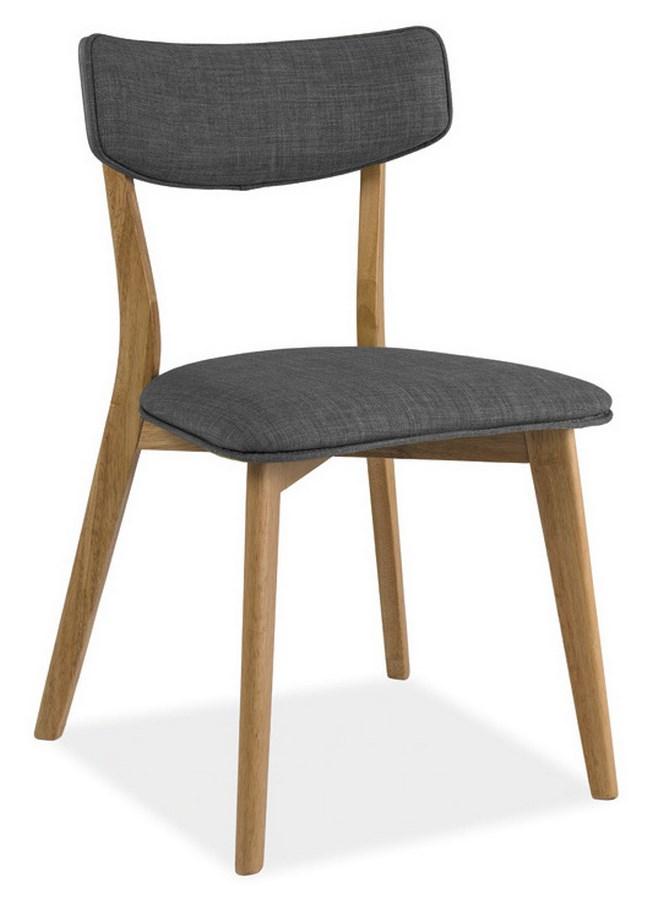 Jedálenská čalúnená stolička KARL šedá/dub
