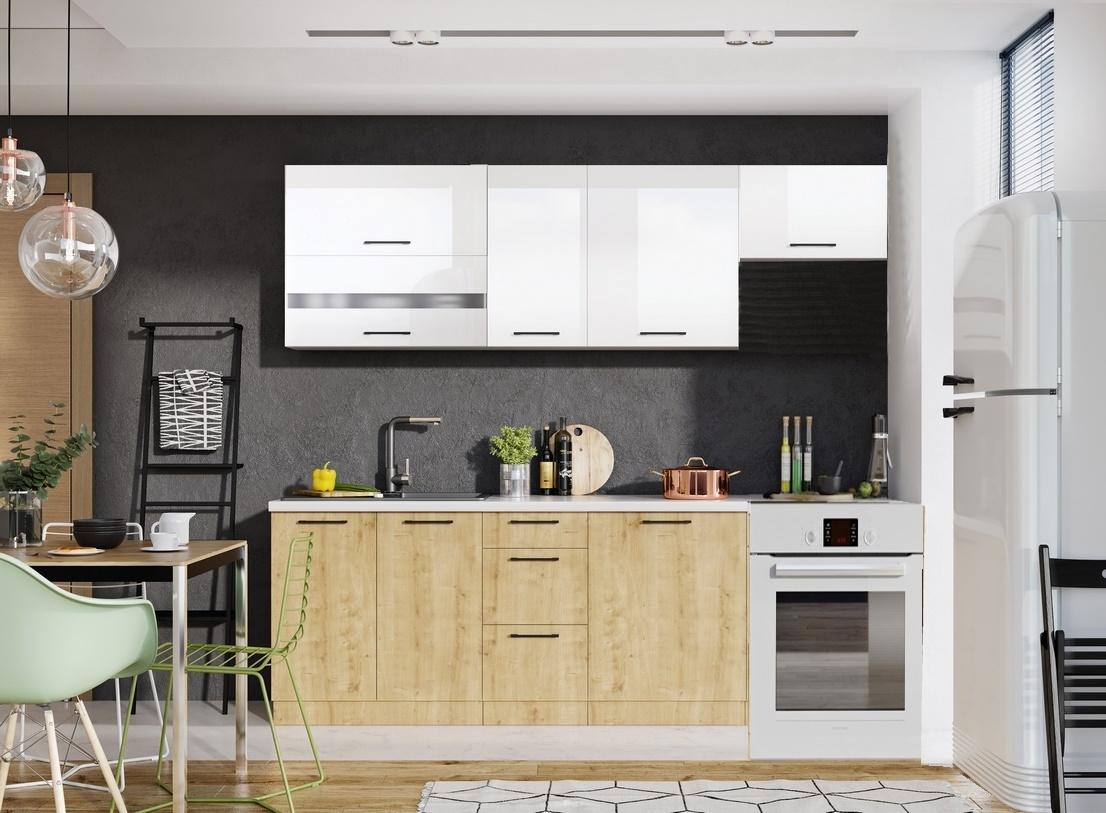 *Kuchyně KAYA 240 s výklopem burlington/bílá lesk