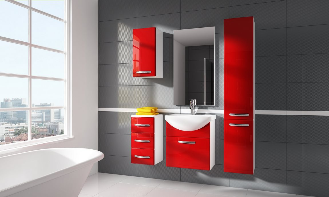 Kúpelňová zostava CORAL červená