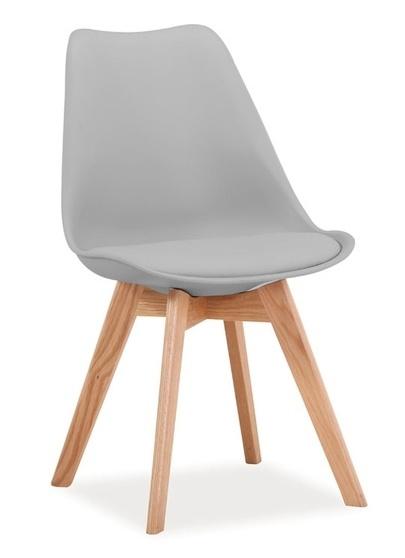 Jedálenská stolička KRIS světle šedá/dub