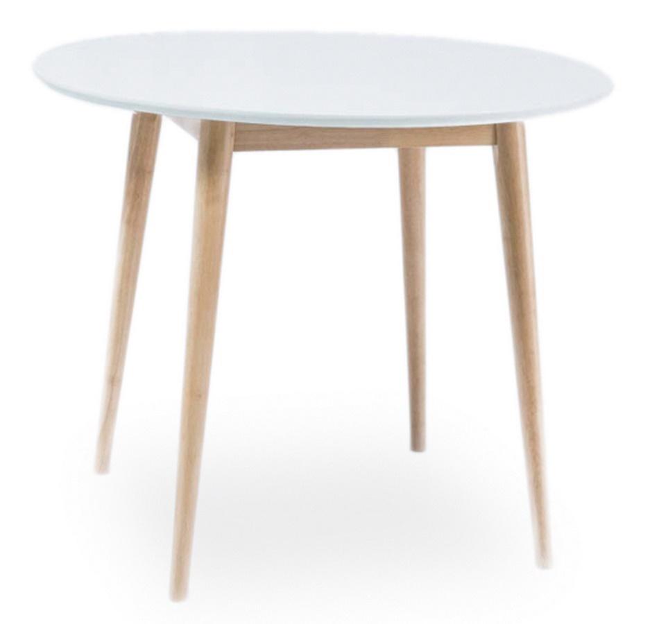 Jídelní stůl kulatý LARSON 100x100 cm bílá/dub bělený