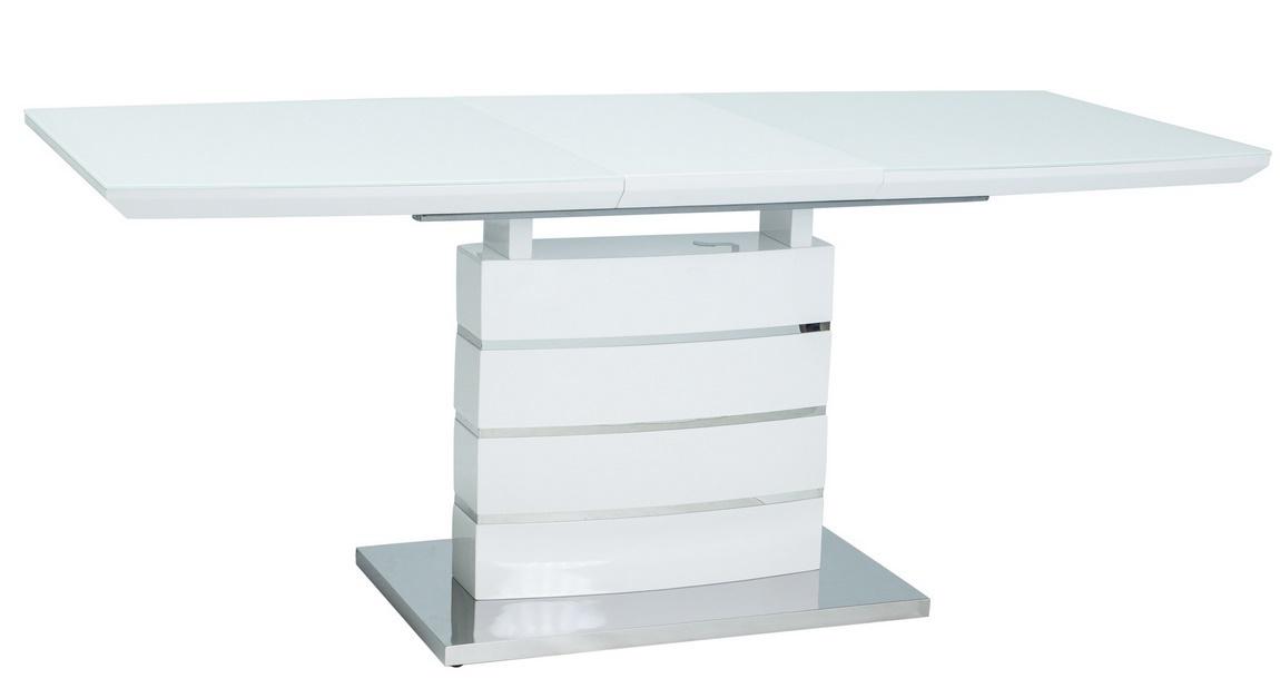 Jedálenský stôl rozkladací LEONARDO biela/nerez