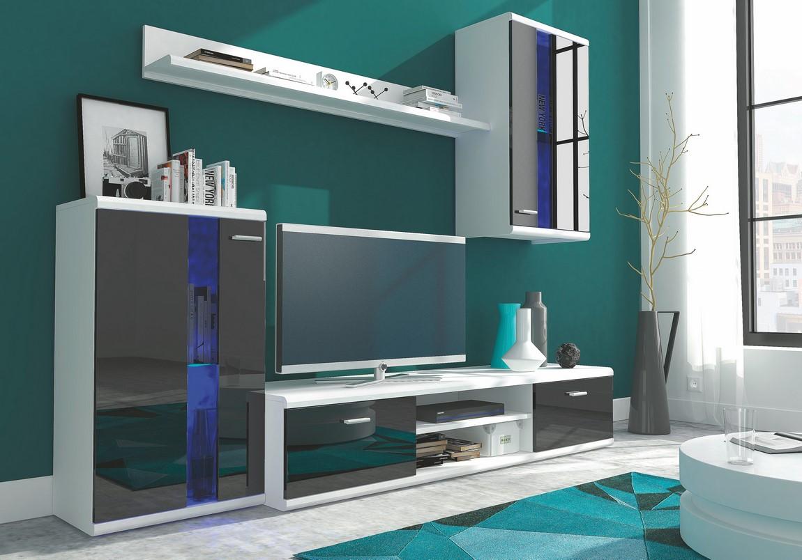 **Obývací stěna ISOLA bílá/černý lesk