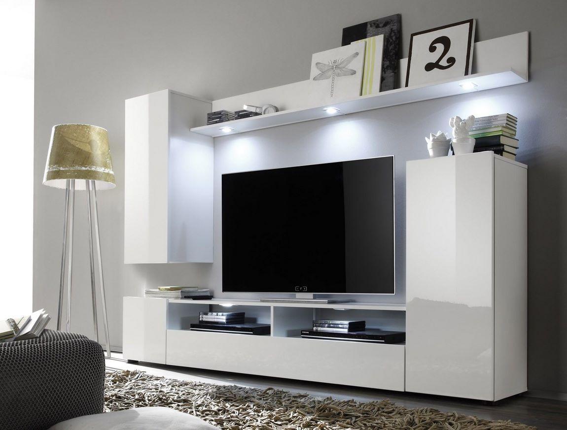 Obývací stěna LINE 3 bílá/bílý lesk