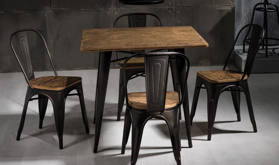 Jedálenská kovová stolička LOFT grafit/tm. orech