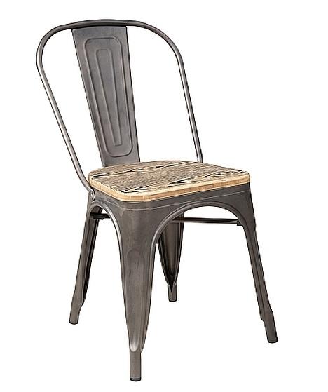 Jedálenská kovová stolička LOFT grafit/orech