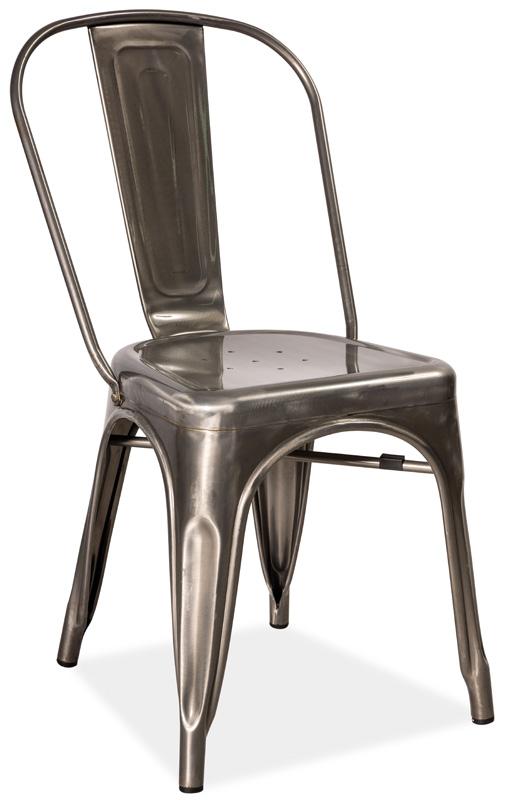 Jedálenská kovová stolička LOFT ocel kartáčovaná