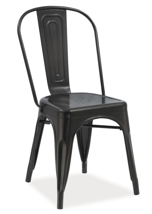 Jedálenská kovová stolička LOFT čierna mat