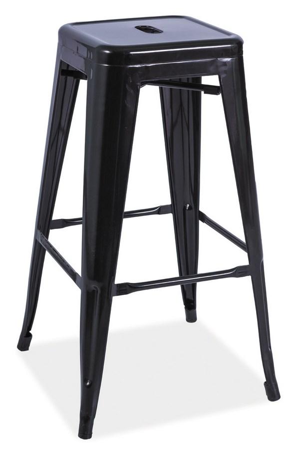 Barová kovová stolička LONG čierna