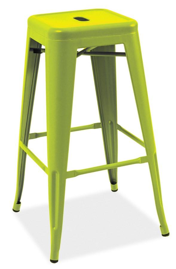 Barová kovová stolička LONG zelená
