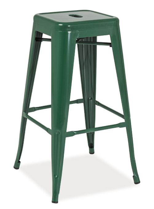 Barová kovová Stolička LONG tmavě zelená