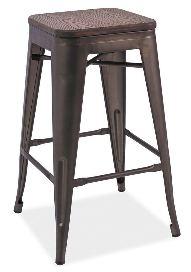 Barová kovová stolička LONG II grafit/tm.orech