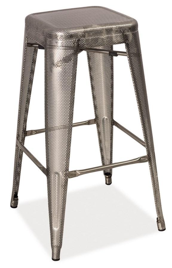 Barová kovová Stolička LONG ocel perforovaná