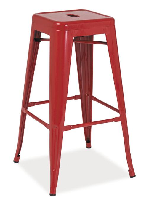 Barová kovová Stolička LONG červená
