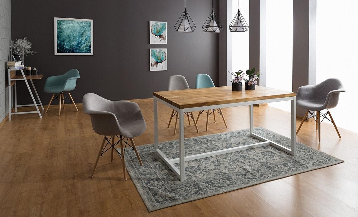 Jedálenský stôl LORAS A 120x80 dub masiv/biela
