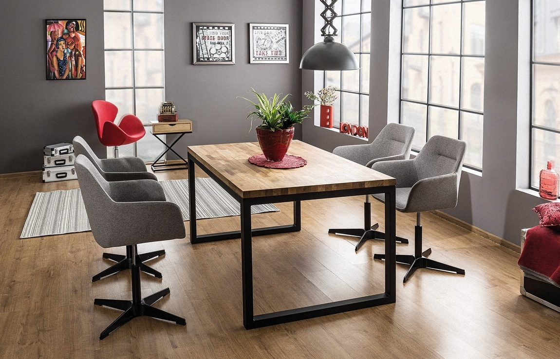 Jedálenský stôl LORAS II 150x90 dub masiv/čierna