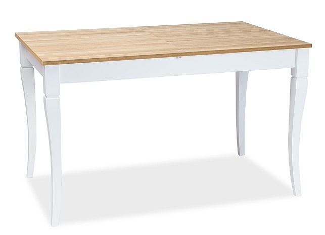 Jedálenský stôl rozkladací LUDWIK 125x75 dub/biela