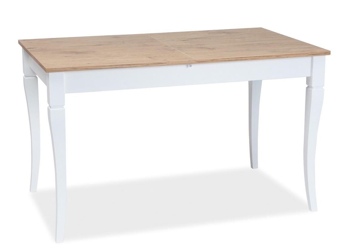 Jedálenský stôl rozkladací LUDWIK 125x75 dub lancelot/biela