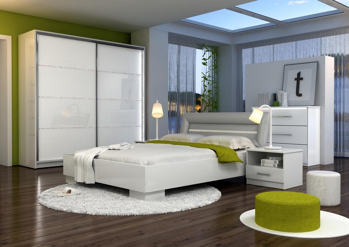 Spálňa MALAGA (postel 160, skriňa, komoda, 2 Nočné stolíky)
