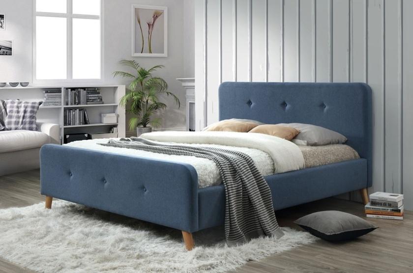 Čalúnená postel MALMO 140x200 denim