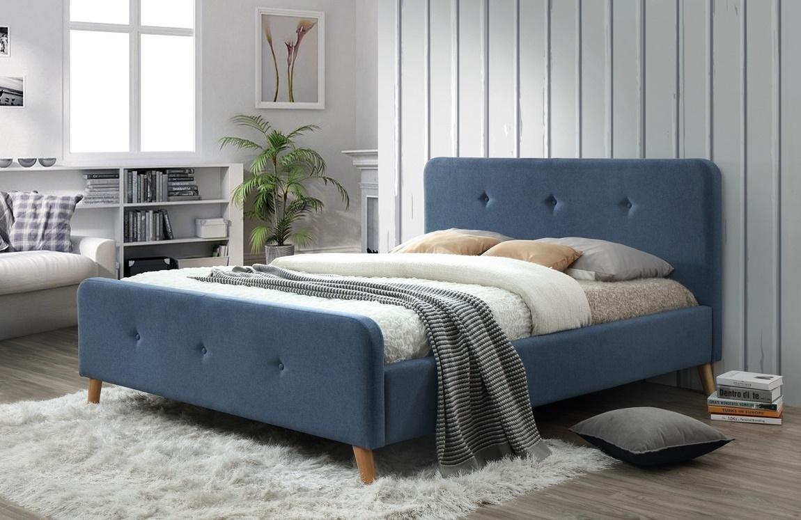 Čalouněná postel MALMO 160x200 denim