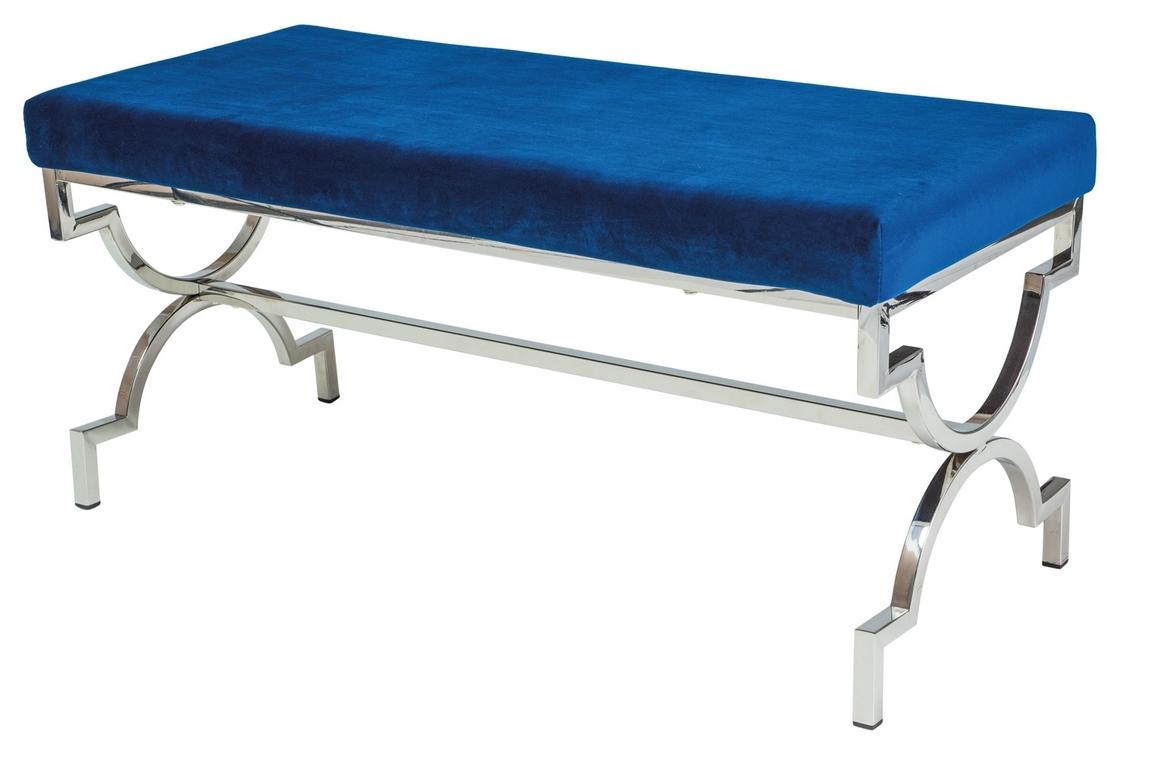 Čalouněná lavice MANGO granátově modrá/chrom