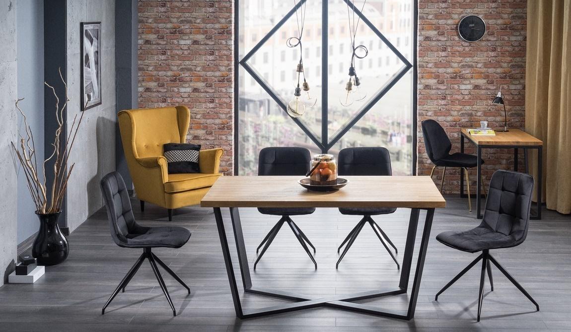 Jedálenský stôl MARCELLO 150x90 dub masiv/čierna
