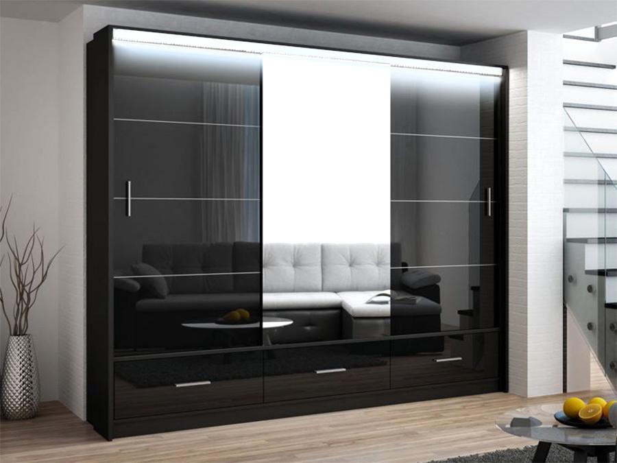 Šatní skříň MARSYLIA 250 černá s osvětlením