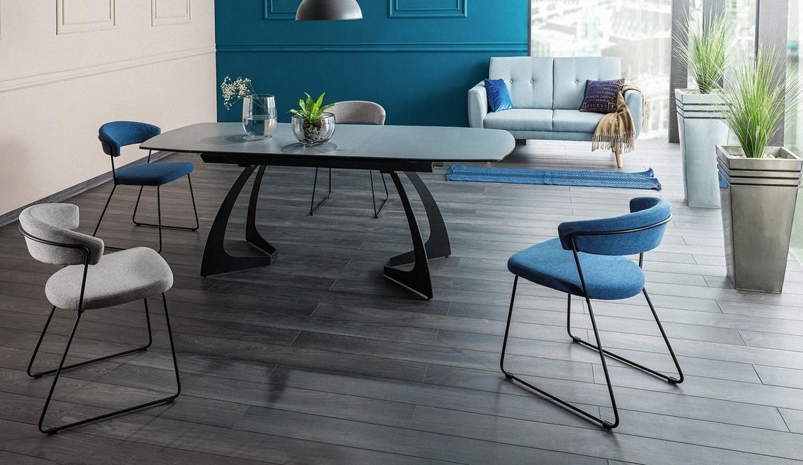 Jedálenský stôl MARTINEZ CERAMIC rozkládací šedá/čierna