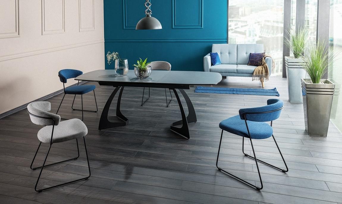 Jedálenská čalúnená stolička HELIX modrá