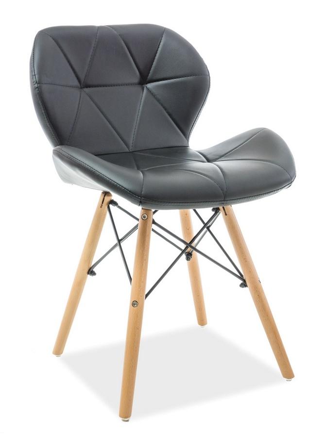 Jedálenská stolička MATIAS čierna ekokoža/buk