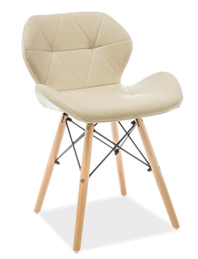 Jedálenská stolička MATIAS cappuccino ekokoža/buk