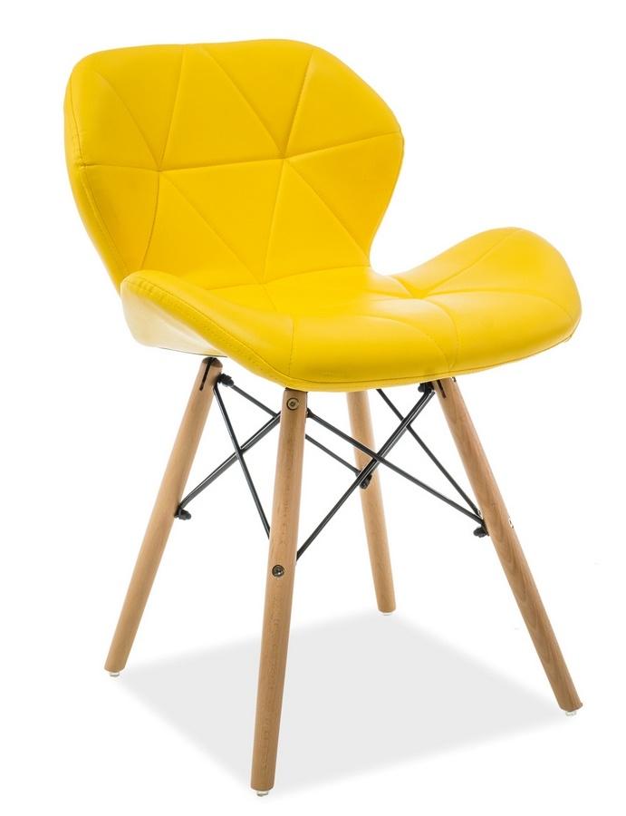 Jedálenská stolička MATIAS žltá ekokoža/buk