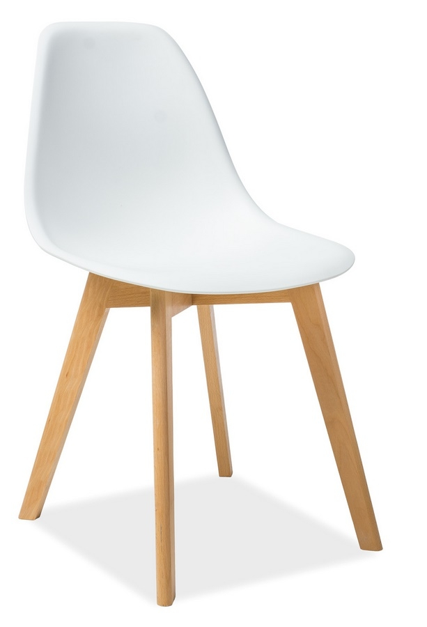 Jedálenská stolička MORIS biela/buk