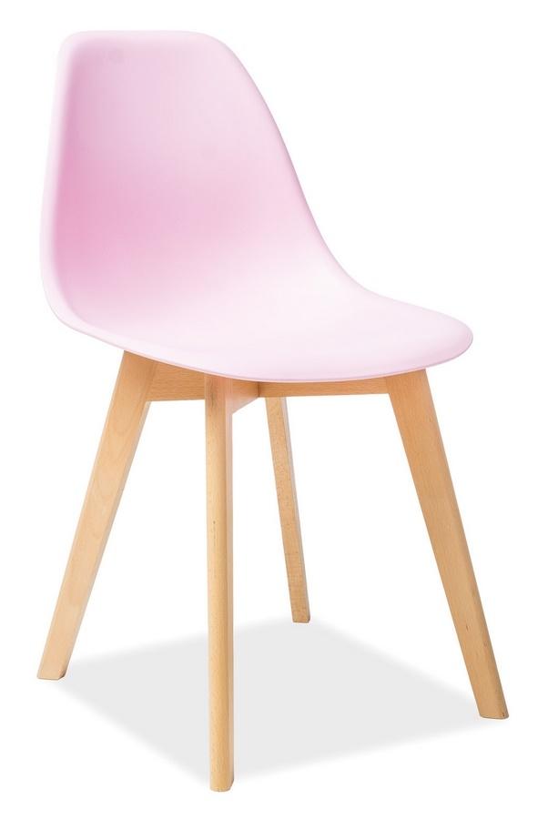 Jedálenská stolička MORIS ružová/buk