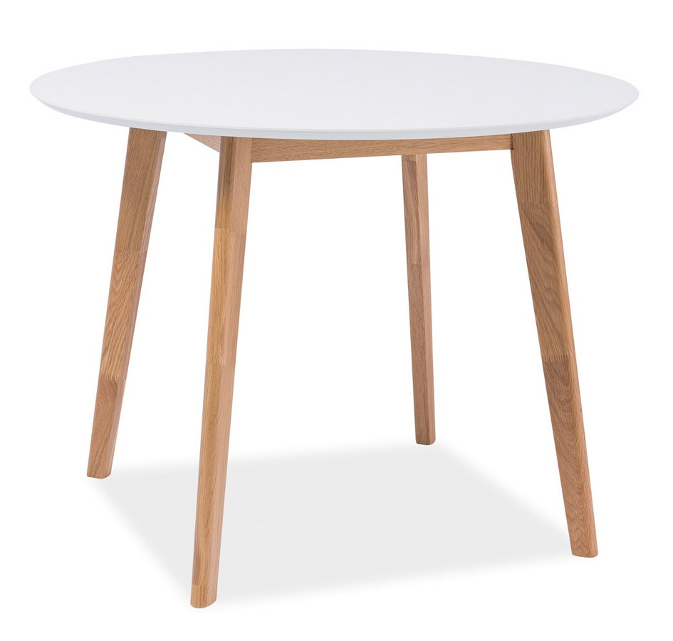 Jedálenský stôl guľatý MOSSO II dub-biela