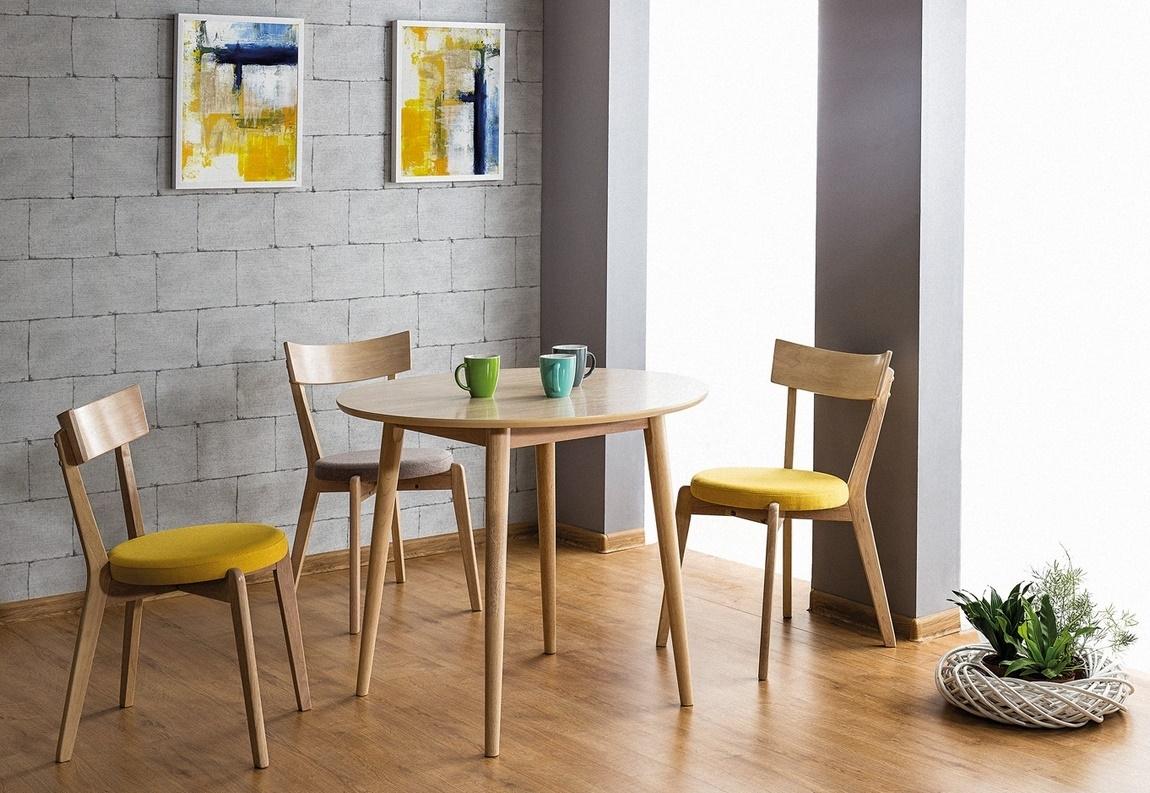 Jedálenská čalúnená stolička NELSON šedá/dub medový
