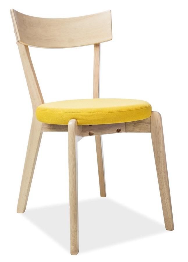 Jedálenská čalúnená stolička NELSON žlutá/dub medový