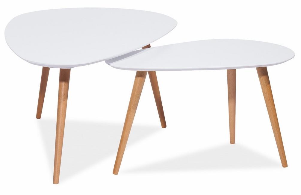 Konferenčné stolíky- komplet NOLAN B biely