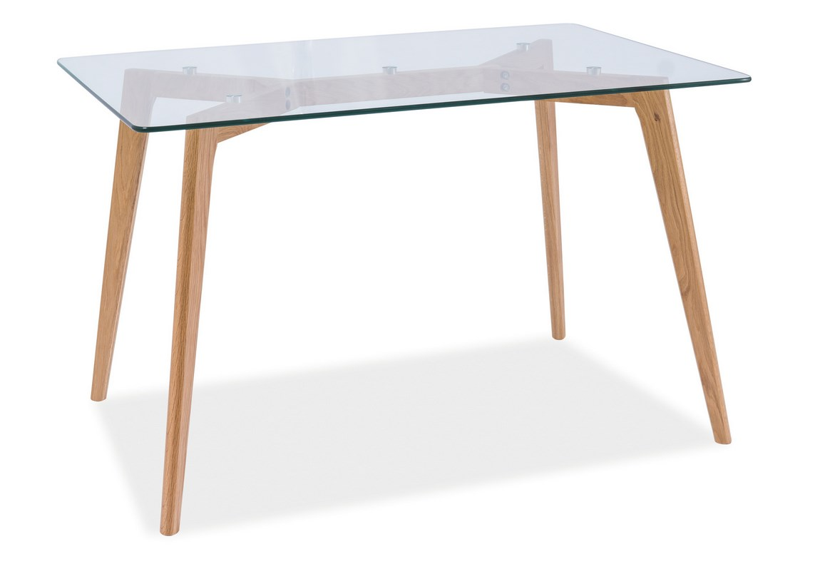 Jedálenský stôl OSLO dub/sklo