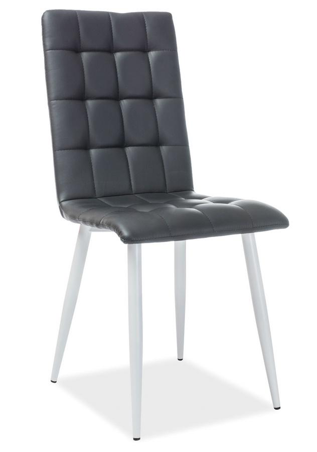Jedálenská čalúnená stolička OTTO čierna ekokoža/biela