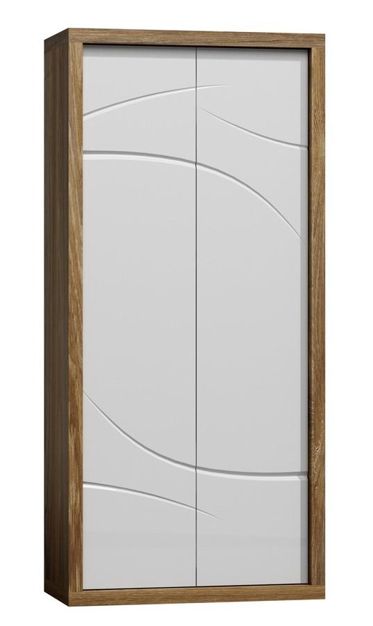 Šatní skříň PARIS P1 bílý lesk/dub Stirling