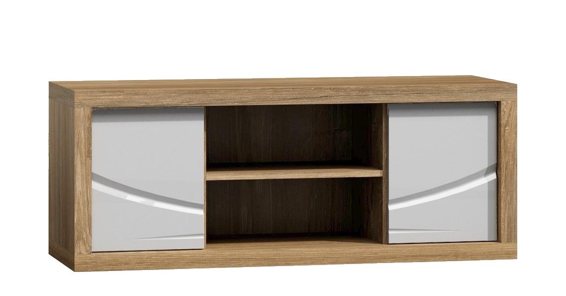 Televizní stolek PARIS P6 bílý lesk/dub Sanremo